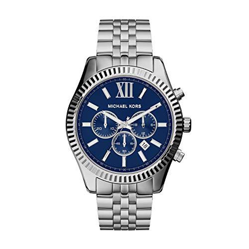 Michael Kors - Reloj cronógrafo Lexington de acero inoxidable, Lexington, 7, IP azul