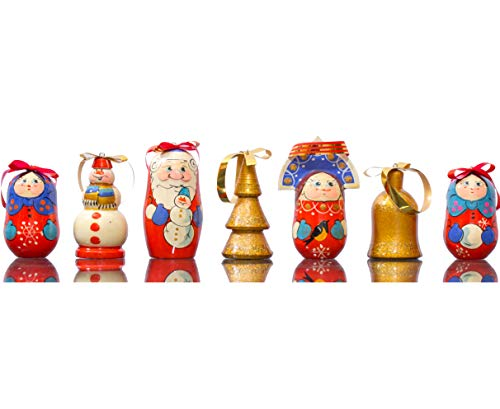 craftsfromrussia Christmas Ornaments - Set of 7 - Wooden Handmade Ornaments (7, Design M)