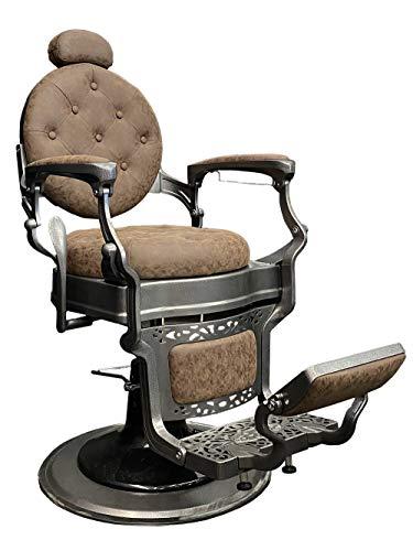 Sillón Barbero Tokio tapizado en polipiel con brazos metálicos acabados en acero. Base hidráulica con freno de giro. Reclinación de respaldo y elevación de piernas sincronizados.