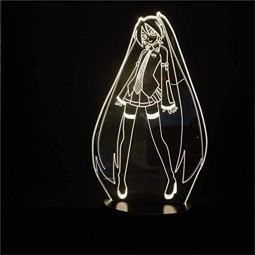 Hatsune Miku Lámpara de ilusión 3D LED de luz nocturna lámpara de ilusión óptica 16 colores regulables USB Powered Control táctil con base de grieta+control remoto para niños niñas niños regalos