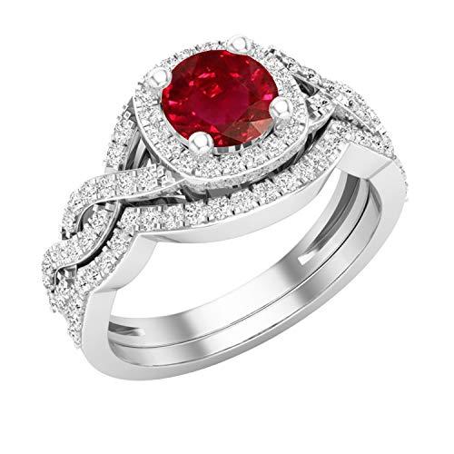 Dazzlingrock Collection Juego de anillos de boda estilo halo infinito con diamantes blancos y rubíes redondos de 5,8 mm | oro blanco de 14 quilates, talla 8,5