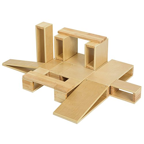 ECR4Kids Oversized Hollow Wooden Block Set for Kids Play, Natural 18-Piece Set of Wood Blocks, Building Blocks, Wooden Toys, Toddler Building Toys, Building Blocks for Toddlers