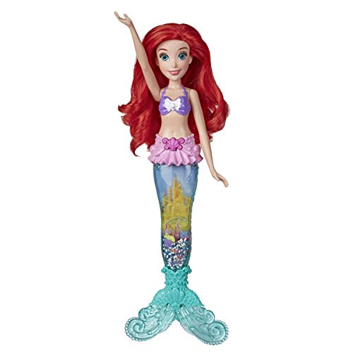 Disney Princess Glitter 'n Glow Ariel Doll with Lights, Mermaid Tail with Water, Sparkles, and Seashells Inside, Toy for Kids and Fans of Disney Movies