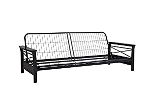 "Sleek design with espresso wood arms Sturdy metal frame that easily converts from a sitting to sleeping position Accomodates a 6"" or 8"" futon mattress. Mattress not included Sofa Dimensions: 81.5""L x 41""W x 28.5""H. Sleeping Dimensions: 81.5""L x 51""W ..."