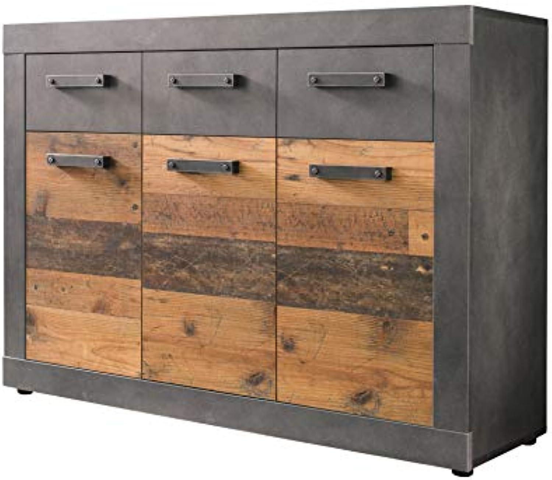 Newfurn Sideboard Kommode Industrial Anrichte Highboard Mehrzweckschrank II 117x86x 37 cm (BxHxT) II [Jamell.Two] in Graphit Grau Matera Old Wood Wohnzimmer Schlafzimmer Esszimmer