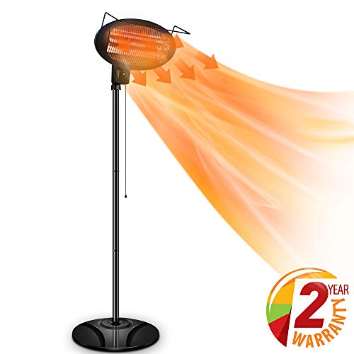 Air Choice Outdoor Heater, Electric Halogen Patio Heater, Space Heater with 3 Power Levels for Patio, Courtyard, Garage Use, Waterproof, 1500W