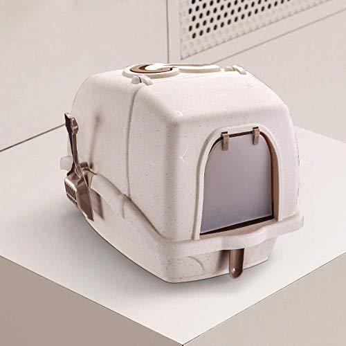 SFBBBO arenero Gatos Caja de Arena para Gatos Desodorante a Prueba de Salpicaduras de plástico de Gran tamaño Completamente Cerrada