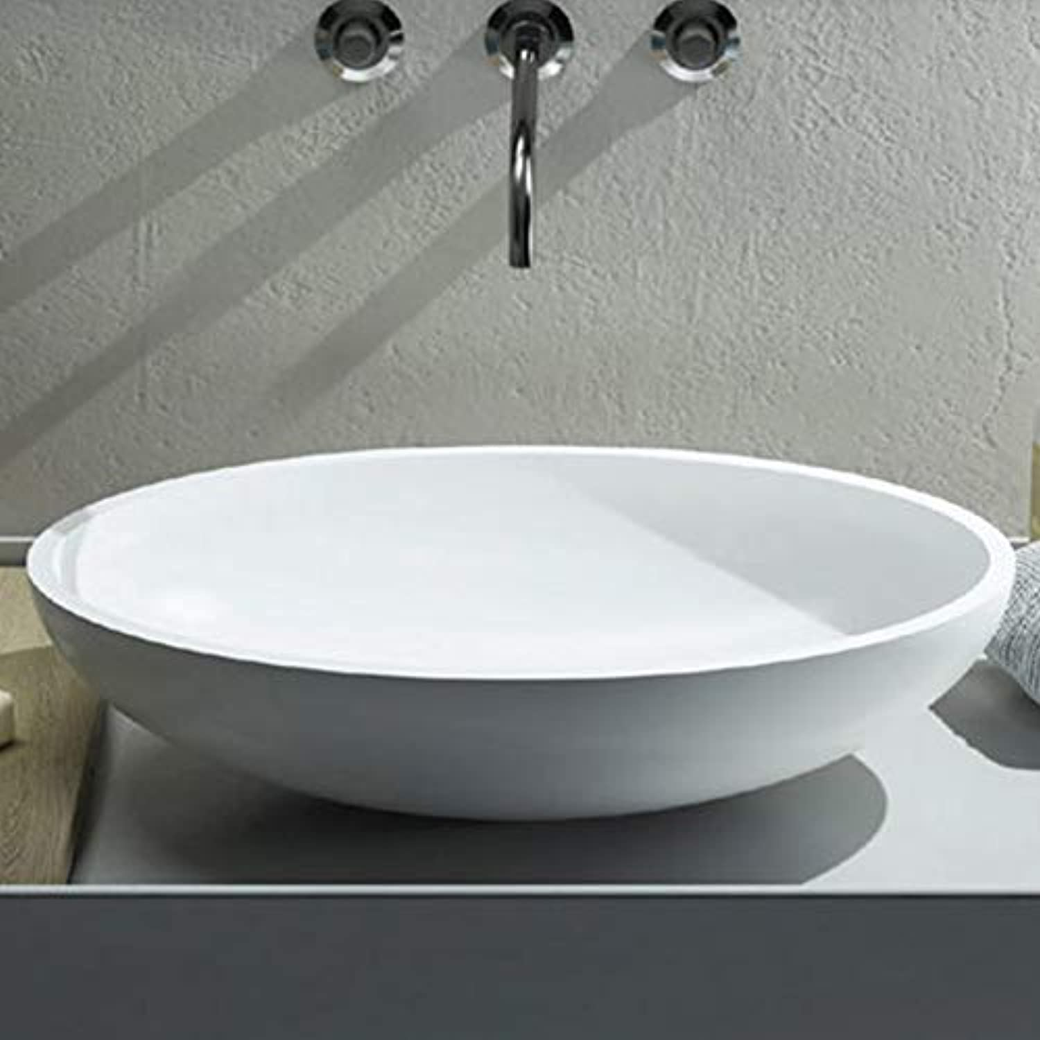 Cielo Eco 62 oval countertop sink BAECO-Polished Weiß