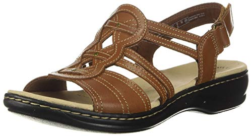 Clarks womens Leisa Janna Sandal, Tan Leather, 8 US