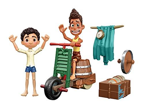 Pixar Luca Pack construye una moto, muñeco de juguete articulado con accesorios Mattel GXK62