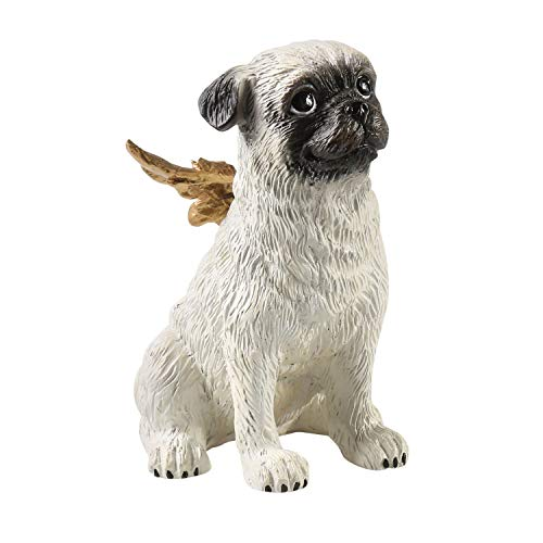 What On Earth Dog Cell Phone Holder - Sculpted Resin Angel Pug Smart Phone Stand Figurine - Mobile Device Prop Delaware