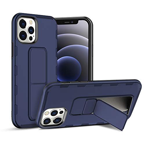 AB Business Group iPhone 12 Pro Shockproof Case with Magnet Folding Vertical and Horizontal Kickstand, Hand and Finger Strap with Metal Stand for Magnetic Car Mount