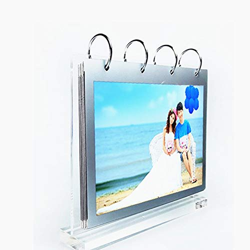 leoyoubei Clear Acrylic Photo Frame,Display Photos On Both Sides,Vertical Stand and Horizontal Display Menu Holders,PVC Folder 7 Shows 14 Photos Photography Studio/Album(4x6')