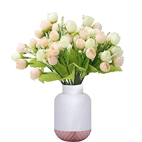 6 mazzo Fiori Artificiali per Esterni Mini Rosa Fiori Artificiali Finti Piante Artificiale Arbusti Ramo Resistente ai Raggi UV Balcone per Casa Ufficio Giardino Patio Cortile Decorazione Champagne