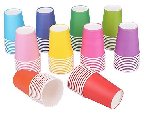 Lawei 200 Piezas Vasos de Papel Desechable para Fiestas vasos de papel para DIYServir el Café - Multicolor, 250 ml