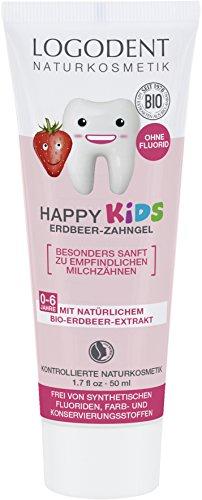 LOGODENT Naturkosmetik HAPPY KIDS Erdbeer Zahngel, Für gesunde und starke Milch- und Kinderzähne, Frei von synthetischen Fluoridzusätzen, 1 x 50ml