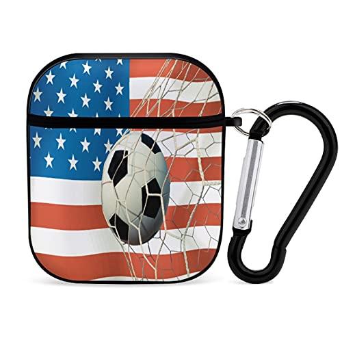 AirPodsケース2/1ハードカバー、USAシンボルサッカーボールヴィンテージカラー防塵、アンチロスト、落下防止Airpodケースカバー、キーホルダー付き