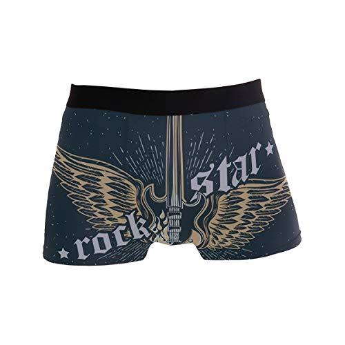 Ahomy Herren Boxershorts Rock Star Gitarre Weicher Stoff Polyester Shorts Trunks Gr. S, Mehrfarbig