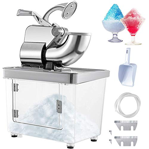 VEVOR 110V Commercial Ice Crusher 440LBS/H, ETL Approved 300W Electric Snow Cone Machine with Dual Blades, Stainless Steel Shaved Ice Machine with Safety On/Off Switch for Family, Restaurants, Bars