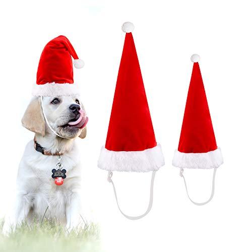 LUTER 2 Piezas Gorro De Papá Noel Ajustable para Perro Gato, Sombrero De Navidad De 2 Tamaños para Mascota, Disfraz De Navidad para Fiestas De Navidad, Decoraciones De Año Nuevo