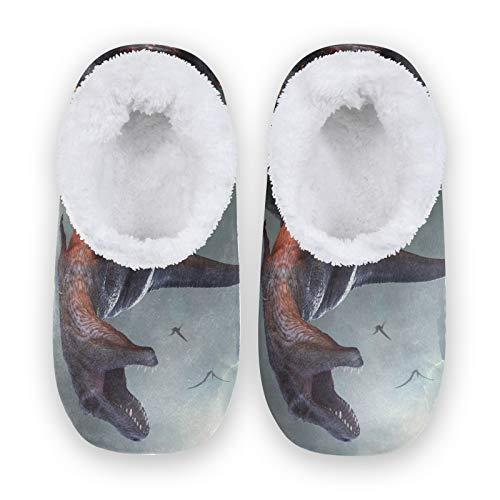 TropicalLife MLHlover 3D Animal Dinosaur Mujeres Hombres Cerrado Back House Pantuflas Confort Coral Fleece Fuzzy Feet Zapatillas de casa para interiores y exteriores, color Multicolor, talla XX-Large