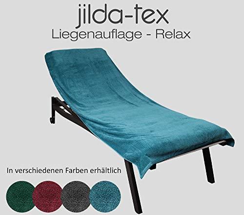 Jilda-tex - Funda protectora para tumbona de jardín, playa, tumbona, 100% algodón orgánico GOTS rizo 80 x 200 cm (petrol)