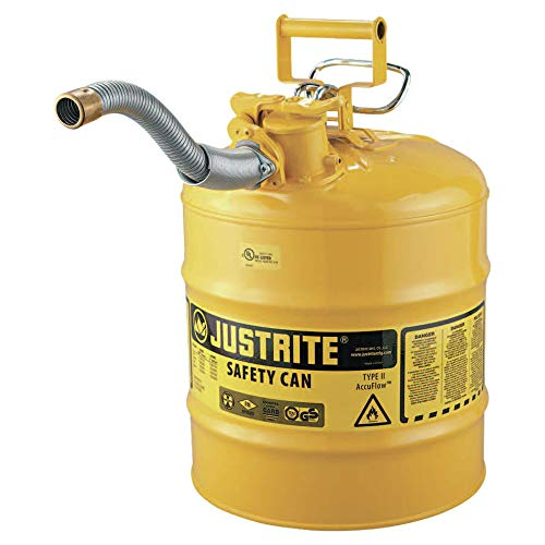 Justrite 7250230 Type II AccuFlow 5 Gallon Diesel Safety Can with 1 in. Hose - Yellow