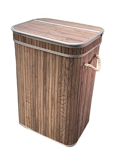 osoltus Camps Bay - Cesto para la ropa sucia (madera de bambú, 3 tamaños, 1 compartimento), color gris