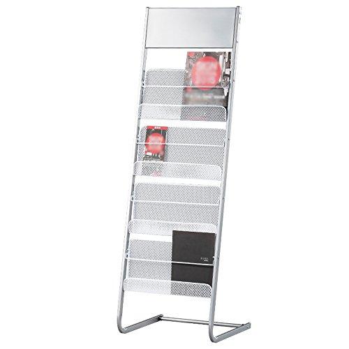 Porte-magazines et porte-journaux Bookstand Landing Show Magazine Étagères Fer À Repasser Presse Simple Office Home Silver White (taille : # 2)