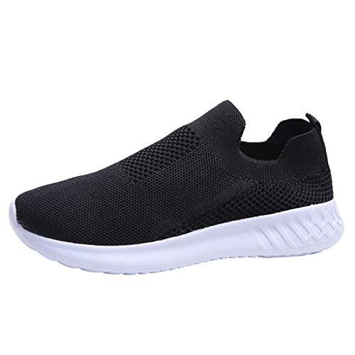 Dorical Damen Slip On Sneakers Walkingschuhe Leichte Atmungsaktiv Freizeitschuhe Outdoor Gym Laufschuhe Turnschuhe Bequeme Halbschuhe für Frauen Übergroß 35-43 EU(Schwarz,36 EU)
