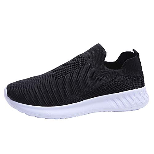 Dorical Damen Slip On Sneakers Walkingschuhe Leichte Atmungsaktiv Freizeitschuhe Outdoor Gym Laufschuhe Turnschuhe Bequeme Halbschuhe für Frauen Übergroß 35-43 EU(Schwarz,41 EU)