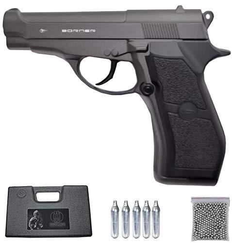 M84 BORNER Modelo Full Metal | Pack Pistola de balines metálica (perdigones: Bolas BB's de Acero). Arma de Aire comprimido (CO2) semiautomática Calibre 4,5mm (Tipo Beretta M84FS) - 2,55 Julios.