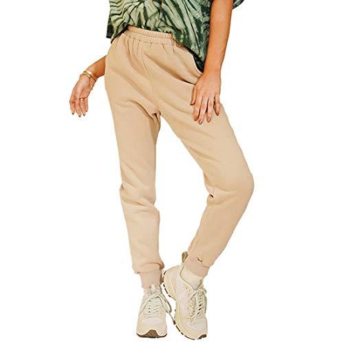 Dihope - Conjunto de chándal para mujer, algodón, para deporte, informal, sudadera, camiseta y pantalón de jogger Pantalon-kaki M