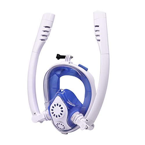 Hans-EU Schnorchelmaske Tauchmaske mit 2 Trockenen Schnorcheln EasybreathVollmaske mit Kamerahaltung Anti-Fog 180 Grad Sichtfeld, für Kinder und Erwachsene (Weiß S/M)