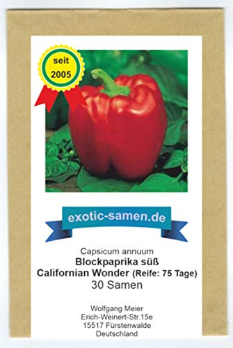 Das wohl beliebteste milde (süße) Paprika - Californian wonder - 30 Samen
