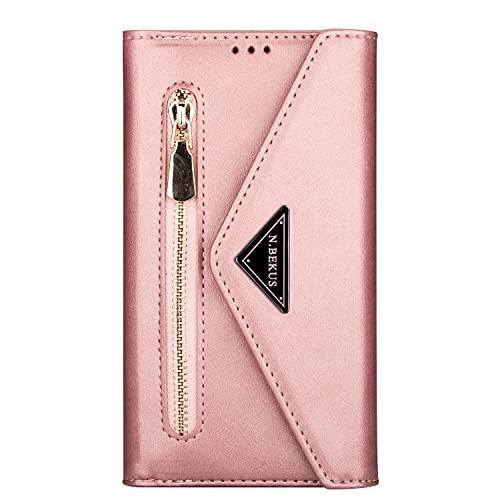 Miagon für iPhone 13 Pro Crossbody Reißverschluss Hülle,Brieftasche Geldbörse Handtasche mit Schulterriemen Flip Kartenhalter Ständer PU Leder Cover für iPhone 13 Pro
