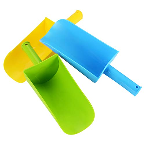 HONGDE Sand Scoop Plastic Shovels for Kids (Blue, Green & Yellow) Complete Gift Set Party Bundle - 3Pack(8.86×3.1in)
