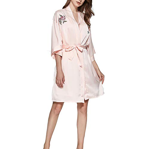 Women Lightweight Robes Sexy Silk Kimono Robe Pink-M