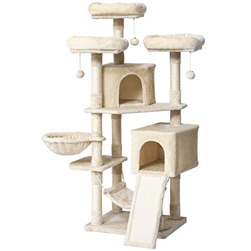 IBUYKE 63' Cat Tree Tower for Large Cats Play Furniture Cat Condo with Sisal Scratching Posts&Board, Cat Hammock Basket, Dangling Balls, Beige UCT021M