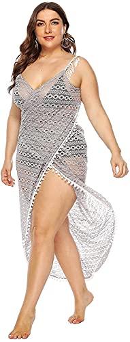 Poncho Surf Bikini de playa para mujer, cubierta de encaje, borla, pareo de playa, semi-perspectiva, correa de espagueti, vestido cruzado sin espalda HSWYJJPFB Towel Robe 0307(Color:Gray;Size:One Size