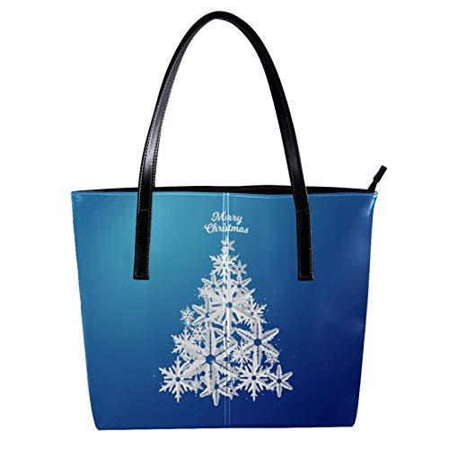 LORVIES Weihnachtsbaum, Schneeflocke, aus Papier, Umhängetasche, PU-Leder und Handtaschen, für Damen