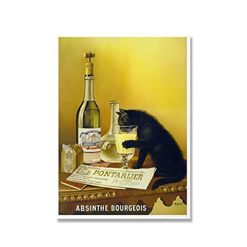 WXUEH Absinth Bourgeois Canvas Poster Und Drucke Wandkunst Gemälde Bilder Für Die Inneneinrichtung -50X70Cmx1Pcs-Kein Rahmen