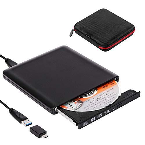 Biscon External Blu-Ray Drive, USB 3.0 Type C Portable Blu Ray DVD CD Disc Player Burner for Laptop Mac MacBook Pro Air PC iMAC Windows 10 Desktop