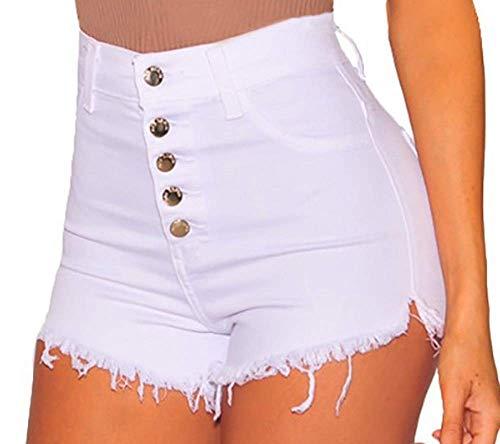 Lovelegis Shorts Donna Jeans - Denim - Vita Alta - Sfilacciati - Strappati - Pantaloncini - Hot Pants - Elasticizzati - Corti - Ragazza - Mare - Sexy - Colore Bianco - Taglia L