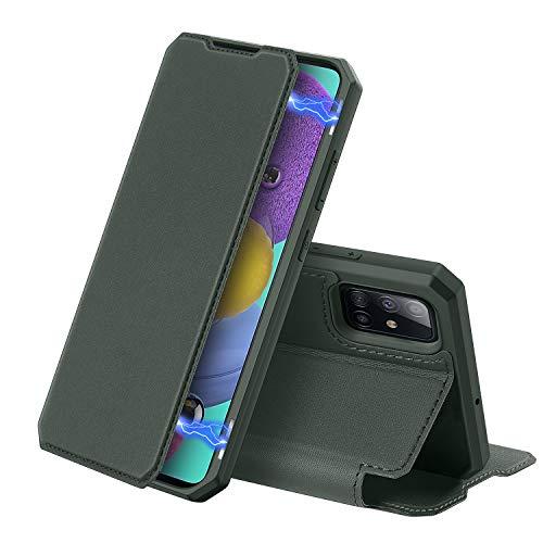 DUX DUCIS Hülle für Samsung Galaxy A51, Premium Leder Magnetic Closure Flip Schutzhülle handyhülle für Samsung Galaxy A51 Tasche (Grün)