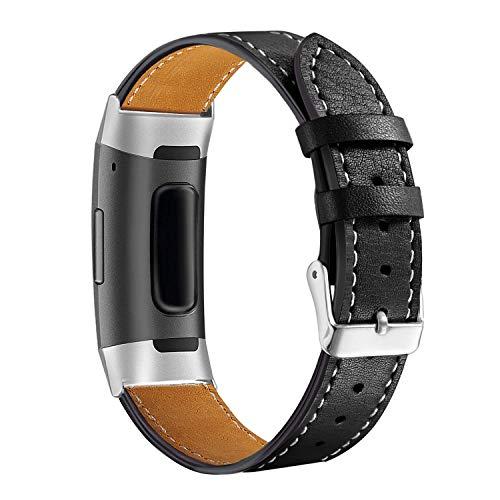 Aottom Correa Compatible con Fitbit Charge 4 Fitbit Charge 3,Cuero Correa,Ajustable Correas de Recambio Fitbit Charge 4,Pulsera Band de Actividad Física con Conectores de Metal para Fit bit Charge 3/4