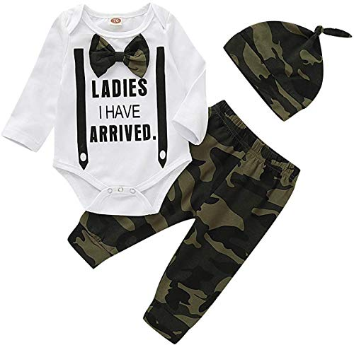 Infant Toddler Baby Boy Girls Outfits Funny Letter Print Romper Pants Clothes Sets Fall Clothes (White, 12-18 Months)