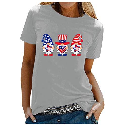 Women Tops Santa Pattern Round Sweatshirts Santa Print Fashion Short Shirts Summer Round Tops T-Shirt Graphic Blouse Elastic Loose Material Short Sleeve Style (Gray, L)