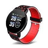 YNLRY Reloj inteligente Bluetooth Smartwatch Hombres IP67 Impermeable Presión Arterial Smart Sports Pulsera para Android IOS Smartband (Color: Rojo)