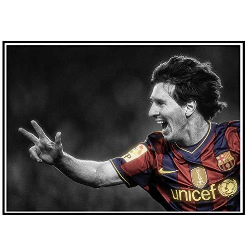 DrCor Carteles de fútbol Estrella Joven Messi Arte de Pared Deporte Lienzo Impreso Pintura decoración del hogar decoración -50x70 cm sin Marco 1 Uds